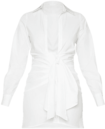 White Plunge Drape Detail Ruched Shirt Dress   PrettyLittleThing USA