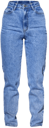 Recycled Light Blue Wash Basic Mom Jeans   PrettyLittleThing USA
