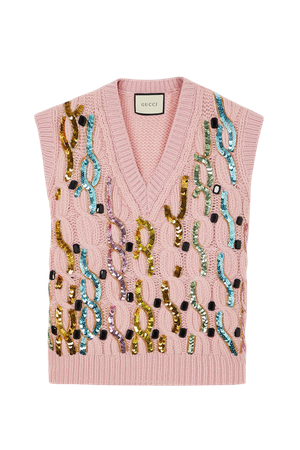 Pink Embellished cable-knit wool vest   Gucci   NET-A-PORTER