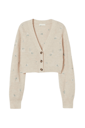 Knit Cardigan with Embroidery - Light beige/roses - Ladies | H&M US