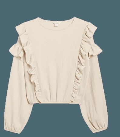 Long sleeve ruffle blouse - Light beige - Shirts & Blouses - Monki WW