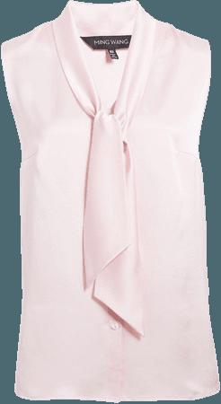 Tie Neck Sleeveless Blouse
