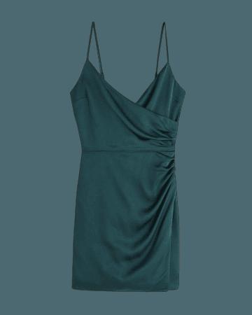 Women's Satin Ruched Wrap Mini Dress   Women's New Arrivals   Abercrombie.com