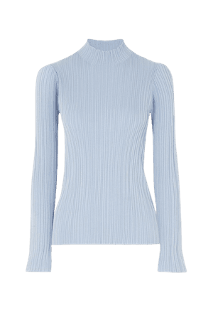 Sky blue Ribbed cotton-blend sweater | Acne Studios | NET-A-PORTER
