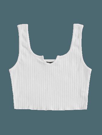 Notch Neck Lettuce Edge Rib-knit Tank Top | SHEIN USA white