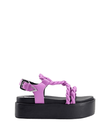 ASRA Portia twisted flatform sandals in lilac leather | ASOS