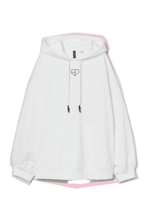 Oversized Hoodie - White/Blackpink - Ladies   H&M US