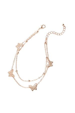 Butterfly Charm Layer Anklet | Urban Outfitters