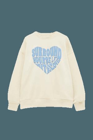 Sweatshirt with heart-shaped slogan - pull&bear