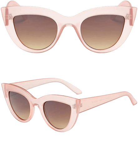 Amazon.com: SOJOS Retro Vintage Cateye Sunglasses for Women Plastic Frame Mirrored Lens SJ2939 with Pink/Gradient Brown + Black/Grey 2 Pairs of Sunglasses: Clothing