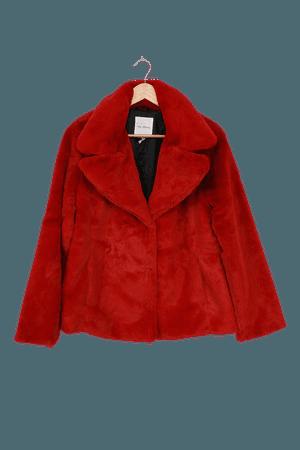Avec Les Filles Faux Fur Coat - Red Faux Fur Jacket - Red Coat