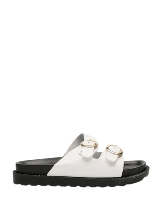 Faux Leather Open Toe Croc Footbed Sandals | Nasty Gal