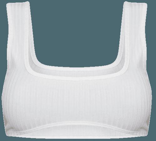 white rib underbust detail bralet $18