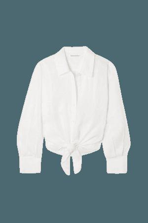 Anzio Tie-front Linen Shirt - White