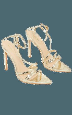 Gold Snake Pu Strappy Stiletto Heel Sandals   PrettyLittleThing USA
