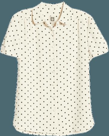 Anne Klein Dot Print Collared Short Sleeve Blouse | Nordstrom
