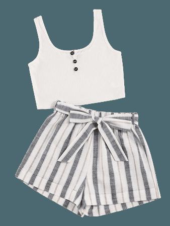 Rib Tank Top & Striped Shorts | SHEIN USA white