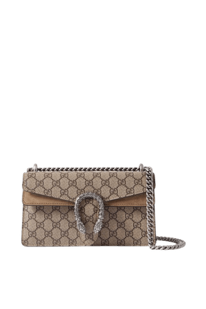 Taupe Dionysus small embellished printed coated-canvas and suede shoulder bag | Gucci | NET-A-PORTER