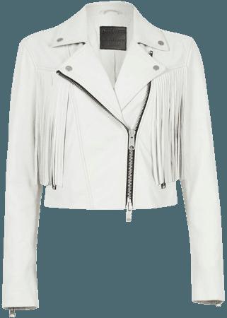 ALLSAINTS US: Womens Elora Tassel Leather Biker Jacket (white)