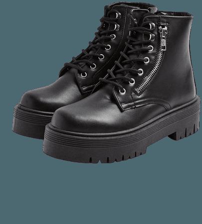 BRAVE Black Zip Chunky Boots | Topshop