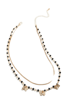 Beaded Butterfly Layer Necklace | Urban Outfitters