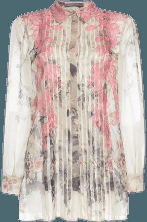 Printed Chiffon Pleated Shirt by Alberta Ferretti | Moda Operandi