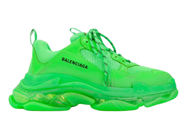 Mens Balenciaga Triple-S Shoes Neon Green