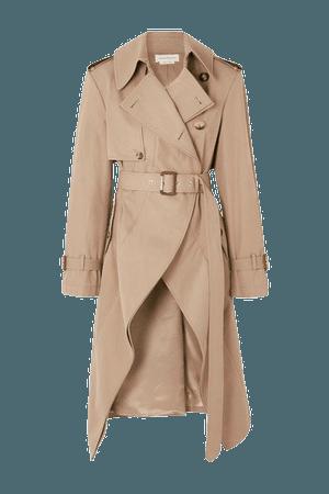 Asymmetric Cotton-gabardine Trench Coat - Beige