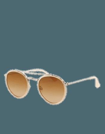 Esprit round sunglasses in beige   ASOS