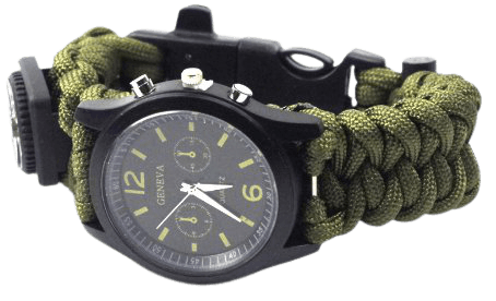 Outdoor Camping Compass Watch Whistle Flint Watch