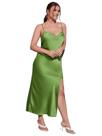 Plus Satin Draped Front Split Thigh Cami Dress   SHEIN USA
