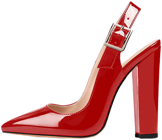 """*clipped by @luci-her* Slingback Pointed Toe Pumps Ankle Strap Chunky Square Heel 4.7"""" High Block Heel Pumps"""