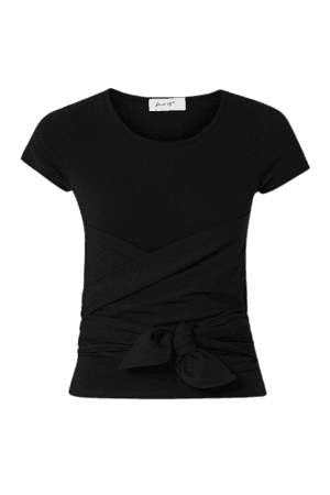 Jeanne Knotted Cotton-jersey T-shirt - Black