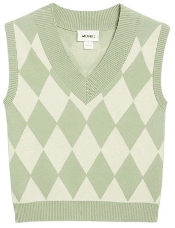 Knit vest - Green and white argyle - Knitted tops - Monki WW