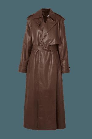 Brown Belted leather trench coat   Bottega Veneta   NET-A-PORTER