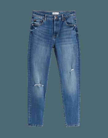 Low-rise skinny jeans - Denim - Woman   Bershka