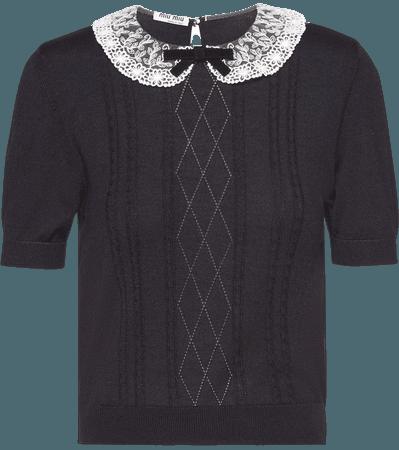 Miu Miu Lace Collar Knitted Top - Farfetch