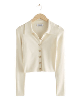 Polo Collar Button Up Sweater - White - Sweaters - & Other Stories