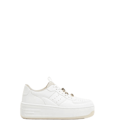 Bershka platform retro sneakers with bejewelled lace in white | ASOS