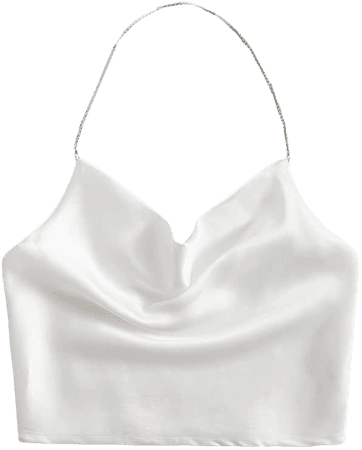 SheIn Women's Satin Chain Halter Neck Shirred Back Draped Crop Cami Top at Amazon Women's Clothing store
