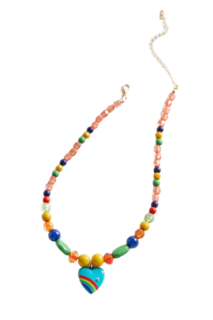 Blue Rainbow Heart Beaded Necklace | Urban Outfitters