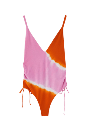 Pink swimsuit with gathered sides - pull&bear