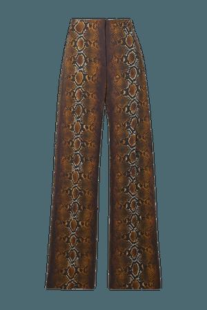 Brown Embellished snake-print crepe wide-leg pants | Versace