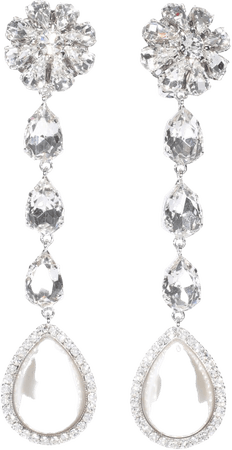 Alessandra Rich Long Earrings With Pearls And Crystals