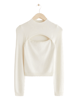 Fitted Cut Out Crop Top - White - Sweaters - & Other Stories