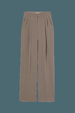 Wide-leg Creased Pants - Dark taupe - Ladies | H&M US
