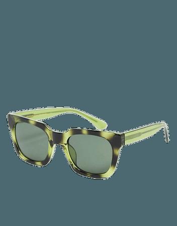 A.Kjaerbede Nancy unisex 70s square sunglasses in dark green tort | ASOS