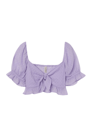 Flounce-trimmed Crop Top - Light purple - Ladies   H&M US