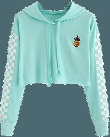 Amazon.com: Women's Cute Crop Top Teen Girls Cropped Hoodie Pineapple Print Sweater Jacket Sweatshirt Jumper Pullover Tops Green: Clothing