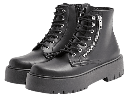 Topshop zip chunky boots in black | ASOS